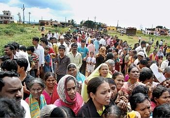 People who had turned up at a school in Hubli, Karnataka,  to apply for Aadhaar.