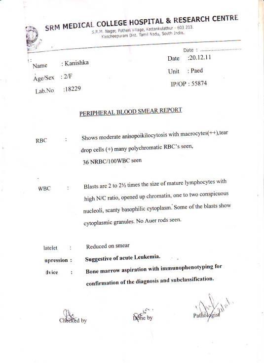 2 year old Kanishka's Blood Smear Report