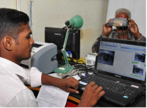IRIS SCANNING AS part of the process to obtain biometric data at the Head Post Office in Madurai, Tamil Nadu,