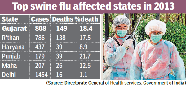 Gujarat tops in India with 149 swine flu deaths in 2013